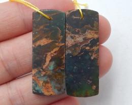 35cts Stone  jasper earrings ,Raw earrings ,Designer Making B455