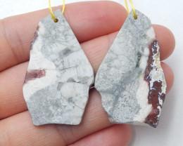 40cts Natural Orbicular rhyolite Bird'sEye Jasper earring pairs B461