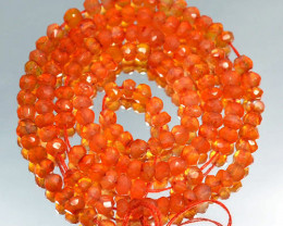 52.72Cts Fire Orange Natural Carnelian Rondelle Faceted Beads 34cm