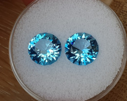 8,06ct Swiss blue Topaz pair - Master cut!
