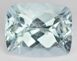 1.58Ct DAZZLING TOP LUSTROUS AQUA BLUE* NATURAL AQUAMARINE CUSHION