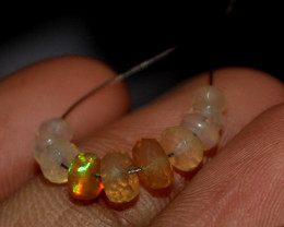 2 Crt Natural Ethiopian Welo Fire Faceted Opal Beads Demi Strand 17
