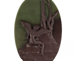 Angel Fairy ~ Carved Cameo Focal Pendant Stone in Ribbon Jasper 130cts