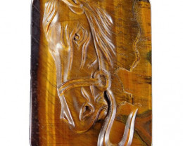 Fine grade Chatoyant Tiger's eye Horse Carving Focal bead - large 175.00cts