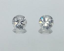 2.52 Carat VVS Zircon Pair - Diamond White Color - Precision Cut and Polish
