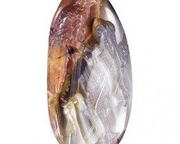 210.00ct Carved Mexican Agate Cameo Lizard Pendant Focal Bead - large - dri