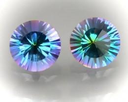 A 7mm Mystic Quartz Pair - Gorgeous colors - Jewellery grade quality