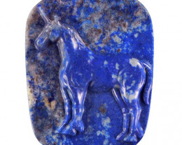 Unicorn Carved Cameo Focal Pendant Stone in Lapis Lazuli 165.00cts