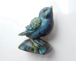 577cts Beautiful Labradorite Gemstone Bird Ornament Great Craft  69x51x28mm