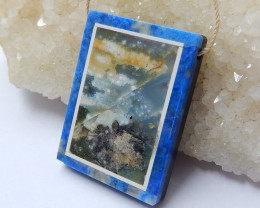 Black Stone, Lapis Lazuli And Ocean Jasper Drilled Rectangle Intarsia Penda