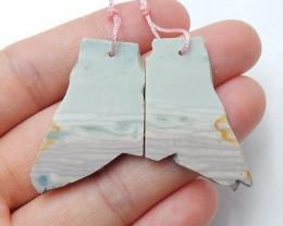 Natural Wave Jasper Earrings Beads, stone for earrings making H3498