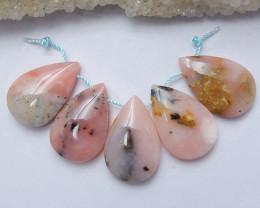 5 PCS Pink Opal Teardrop Gemstone Pendant Bead Set H3379