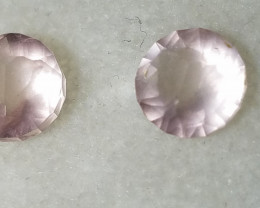 Pink quartzite rounds matched pair