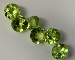 6 PIECE PARCEL OF PERIDOT GEMS -  bright green No reserve
