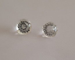 Master cut 8mm round pair White topaz #G0063