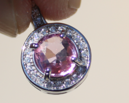 Tajik Pink Spinel .70ct,White Gold Plated,Solid Sterling Silver Pendant