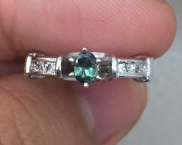 (B2) Cert. $1400 Nat 0.49cts. Alexandrite & Diamond Ring 10K YG