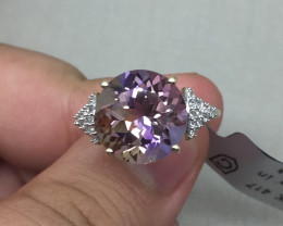 (B4) Rare $1850 Nat 5.80ct. Anahi Ametrine & Wht Zircon Ring 10K YG