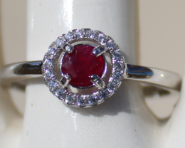 Tajik Ruby .36ct,White Gold Plated,Solid Sterling Silver Ring,Resizable,Nat