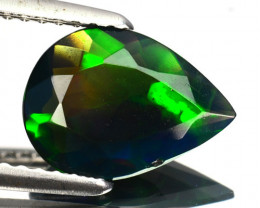 1.05 Cts Multi-Color Play Smoked Ethiopian Black Opal Pear Cut