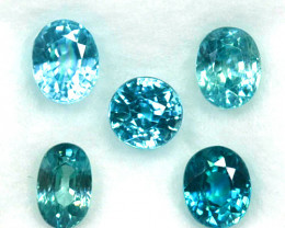 2.85 Cts Natural Blue Zircon 5x4 mm Oval Cut 5 Pcs Cambodia