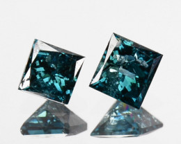 0.23 Cts Natural Electric Blue Diamond 2 Pcs Princess Cut Africa