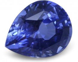 1.32 ct Pear Blue Sapphire IGI Certified Unheated