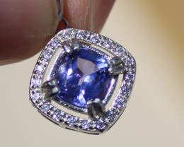 Tanzanite 1.30ct,White Gold Plated,Solid Sterling Silver Pendant,Natural