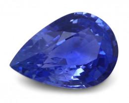 1.38 ct Pear Blue Sapphire IGI Certified Unheated