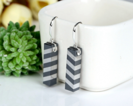 New design Hematite Drilled Intarsia Earrings , 925 Sterling Silver Einding