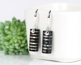 New design Onyx and Silver shell Drilled Intarsia Earrings , 925 Sterling S