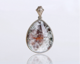 New Design ghost quartz Necklace Pendant in 925 Sterling Silver TOPH2286