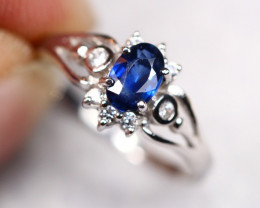 Blue Sapphire 18K Solid White Gold F/G VS Diamond Ring GJ10