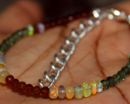 Natural Ethiopian Welo Opal Garnet Apatite Beads Bracelet 174