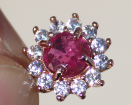 Burmese Ruby 1.00ct,Rose Gold Plated,Solid Sterling Silver Pendant