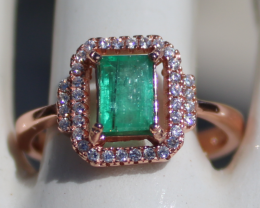 Columbian Emerald .75ct,Rose Gold Plated,Solid Sterling Silver Ring