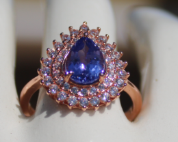 Tanzanite 1.30ct,Rose Gold Plated,Solid Sterling Silver Ring
