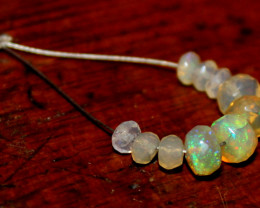 2.75 Crt Natural Ethiopian Welo Fire Faceted Opal Beads Demi Strand 20