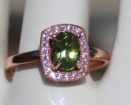 Green Tourmaline .80ct,Rose Gold Plated,Solid Sterling Silver Ring