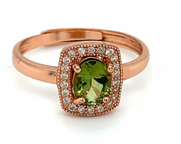 Green Tourmaline .80ct Rose Gold Finish Solid 925 Sterling Silver Ring