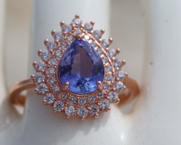 Tanzanite 1.30ct,Rose Gold Plated,Solid Sterling Silver Ring, Pear