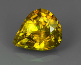 FINIST EVER 1.50 CTS MAGNIFICENT NATURAL RARE QUALITY FANCY SPHENE PEARCUT!