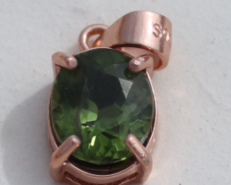 Diopside 1.15ct,Rose Gold Plated,Solid Sterling Silver Pendant