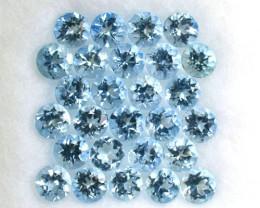2.97 Cts Natural Aquamarine 3.0 mm Round Cut 27 Pcs Parcel Brazil