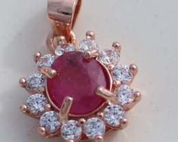 Tajik Ruby .93ct,Rose Gold Plated,Solid Sterling Silver Pendant