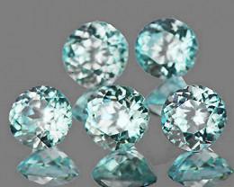 4.50 mm Round 5 pcs 2.35cts Light Greenish Blue Zircon [VVS]