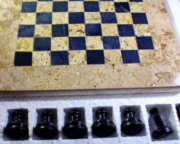 7110 CT Natural Onyx Carved Chess Board Special Shape