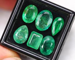 11.79Ct Natural Vivid Green Zambian Emerald Mixed Size Lot B2202