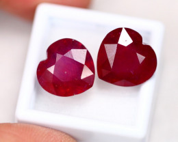 21.98Ct Madagascar Pigeon Blood Red Ruby 2 Pieces Heart Cut B2209