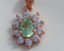 Rare!! Green Tanzanite .75ct, Rose Gold Plated, Solid Sterling Silver Penda